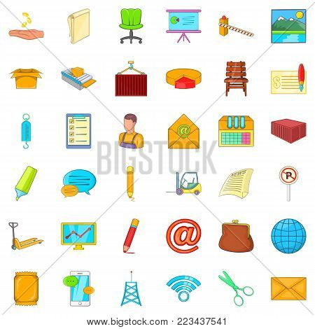 Postal service icons set. Cartoon set of 36 postal service vector icons for web isolated on white background poster