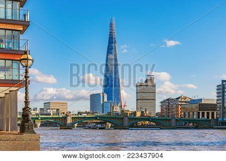 LONDON, UNITED KINGDOM - NOVEMBER 06: View of central London River Thames architecture and the Shard building on November 06, 2017 in London