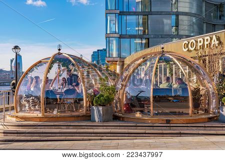 LONDON, UNITED KINGDOM - NOVEMBER 06: Famous restaurant Coppa with contemporary architecture situated on the River Thames on November 06, 2017 in London