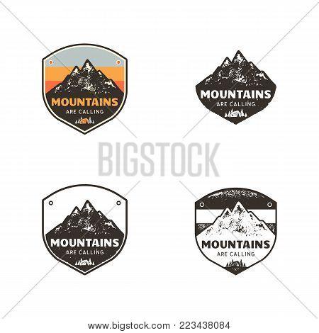 Ski Club, Mountains Explorer Labels. Vintage hand drawn mountain winter camp badges. Outdoor adventure ski camp logo design. Travel patch, hipster print. Retro colors, monochrome emblems. Stock Vector