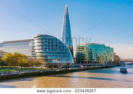 LONDON, UNITED KINGDOM - NOVEMBER 06: View The Shard and modern riverside buildings along the River Thames on November 06, 2017 in London