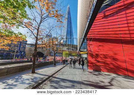LONDON, UNITED KINGDOM - NOVEMBER 06: City of London financial district office area with a view of The Shard building on November 06, 2017 in London