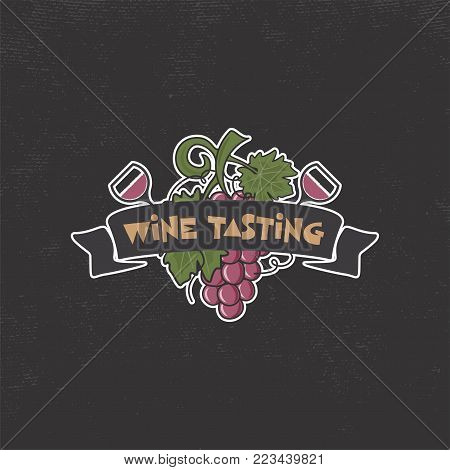 Wine tasting, winery logo template. Drink, alcoholic graffiti art, beverage symbol. Vine icon and typography design. Winery, premium quality sign. Stock vector illustration isolated on dark background