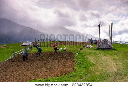 Synevyr village, Ukraine - May 9, 2017: peasants plant a crop on rainy springtime day. wooden fence around the rural field on grassy slope. Kamyanka mountain ridge in heavy clouds in the distance