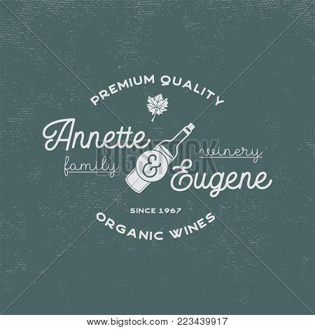 Family Winery, wine shop logo. Organic wines, premium quality. Vineyard badge. Retro symbols - wine bottle, grape leaf. Typography design illustration. Stock vector emblem isolated on retro background
