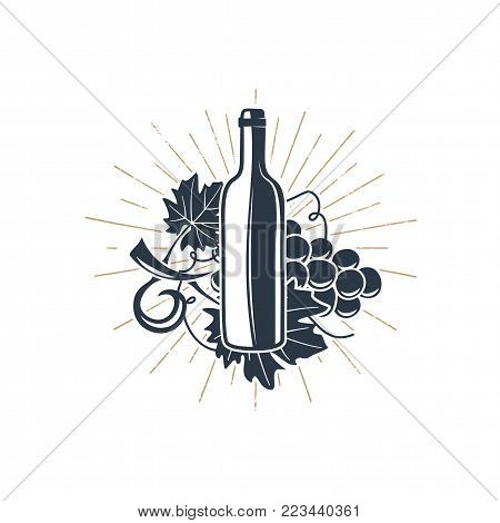 Black wine bottle and vine with sunbursts for vineyard logo, winery badge, wine club, bar, cafe or restaurant. Stock vector silhouette icons, symbols isolated on white background.