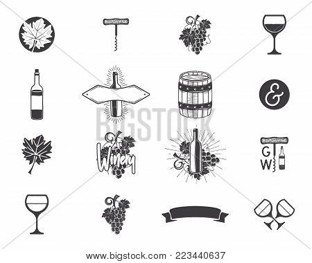 Wine production icons set. Winery, wine shop, vineyards badges collection. Retro Drink symbols. Monochrome design illustrations. Stock vector emblems and pictograms isolated on white background.