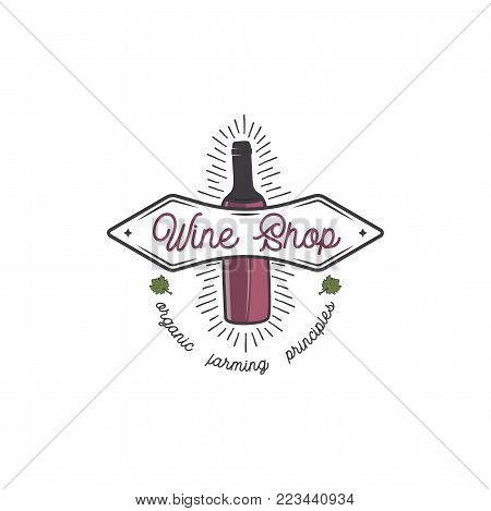 Wine shop logo template concept. Wine bottle, leaf, sunbursts and typography design. Stock vector emblem for winery, wine shop logotype, store isolated on white background.