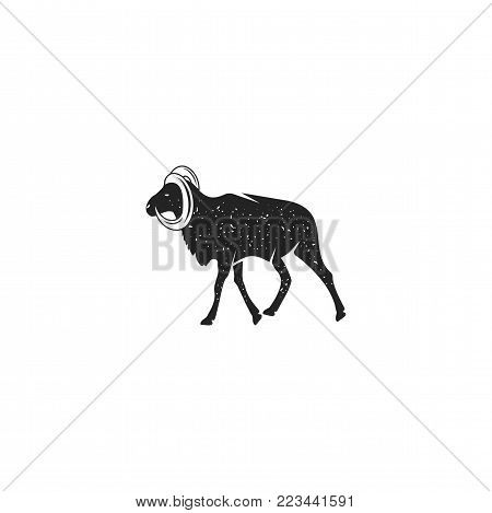 Wild goat silhouette shape. Vintage hand drawn wild animal icon, symbol isolated on white background. Stock vector illustration of animal.