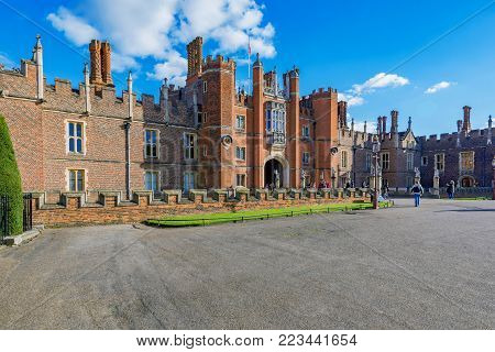 LONDON, UNITED KINGDOM - OCTOBER 27: This is a view of Hampton Court Palace a popular historic palace and travel destination in the Richmond area on October 27, 2017 in London