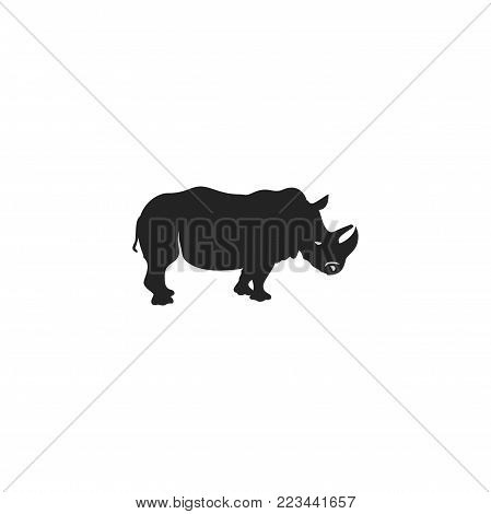 Rhino black icon. Rhinoceros silhouette symbol isolated on white background. Wild animal pictogram for logotype templates, badges, logo, t shits, tee designs. Stock vector illustration.