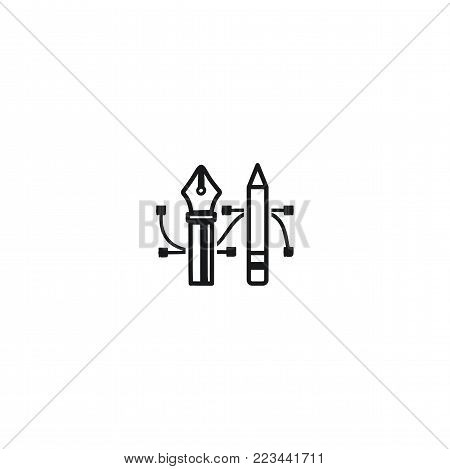 Pencil and Pen Tool icon. Drawing tools symbol. Badge, label for design agency, freelancers. Stock vector illustration isolated on white background.