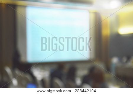 blur of projector screen in conference room