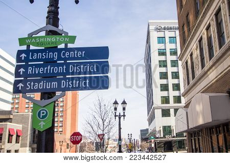Lansing, Michigan, USA - January 20, 2018: Directional sign for the tourist district of downtown Lansing.
