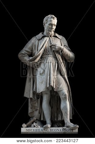 Michelangelo Buonarroti statue, by Emilio Santarelli, 1840. It is located in the Uffizi courtyard, in Florence.