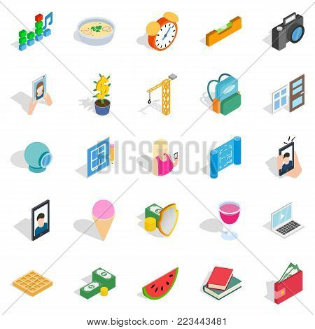Characteristic icons set. Isometric set of 25 characteristic vector icons for web isolated on white background