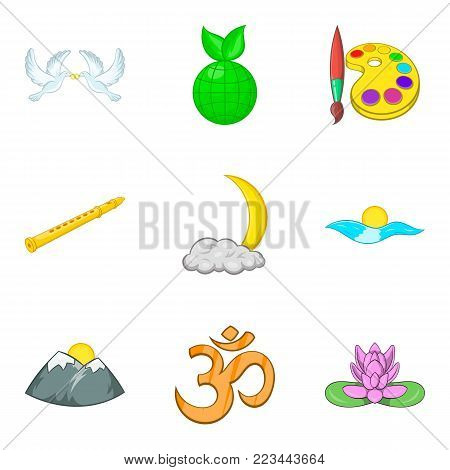 Unanimity icons set. Cartoon set of 9 unanimity vector icons for web isolated on white background
