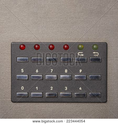 Part of vintage analog recorder, button control panel