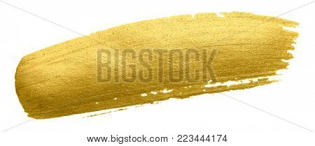 Gold paint brush smear stroke. Acrylic golden color stain on white background. Abstract gold glittering textured glossy illustration as design element for invitation, wedding or bithday card template