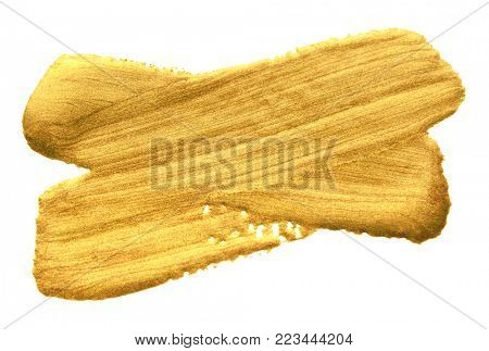 Gold paint brush smear stroke. Crossed golden color stain on white background. Abstract gold glittering textured glossy illustration as design element for invitation, wedding or bithday card template