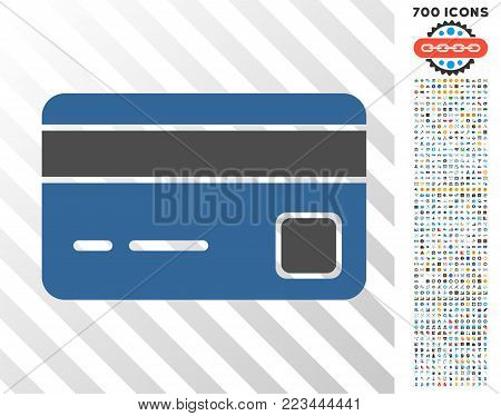 Bank Card pictograph with 700 bonus bitcoin mining and blockchain symbols. Vector illustration style is flat iconic symbols designed for crypto-currency software.