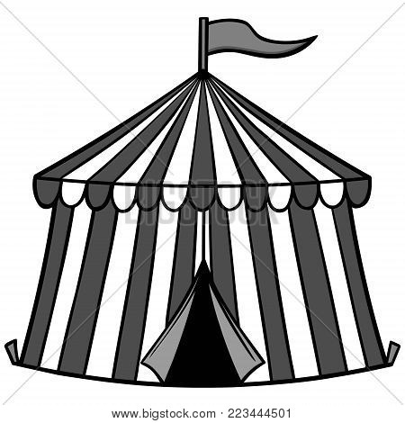 Circus Tent Illustration - A vector cartoon illustration of a Circus Tent.