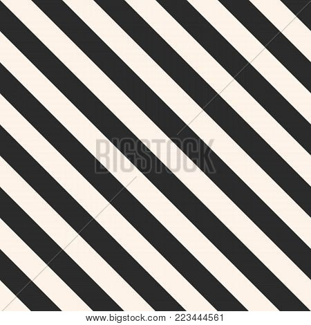 Vector stripes seamless pattern. Repeat diagonal lines texture, 45 degrees inclination. Modern abstract geometric background. Black and white colors. Simple striped template. Universal design element. Stripes texture. Stripes diagonal background.