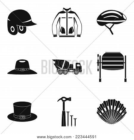 Head covering icons set. Simple set of 9 head covering vector icons for web isolated on white background
