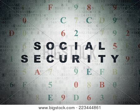 Protection concept: Painted black text Social Security on Digital Data Paper background with Hexadecimal Code