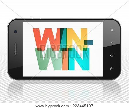 Business concept: Smartphone with Painted multicolor text Win-Win on display, 3D rendering