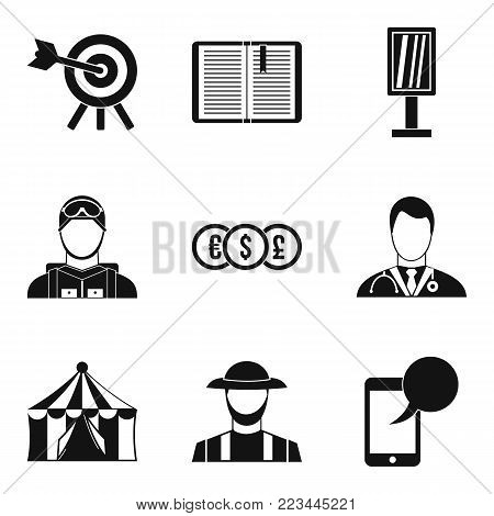 Headgear icons set. Simple set of 9 headgear vector icons for web isolated on white background
