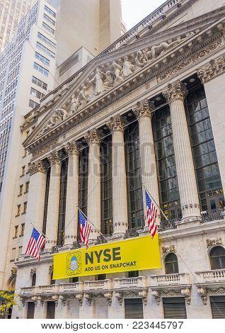 New York, USA, November 2016: facade of the New York Stock Exchange building in lower Manhattan, New York