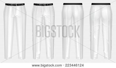 Vector realistic pair of white pants with black belt, one clean and ironed, other crumpled, isolated on background. Casual wear, unisex trousers, mockup for your design, before and after ironing