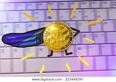 Gold litecoin coin with painted hands, feet and blue cloak stands in pose of a super hero. Concept of strength and growth rate litecoin. New leader among the crypto currencies