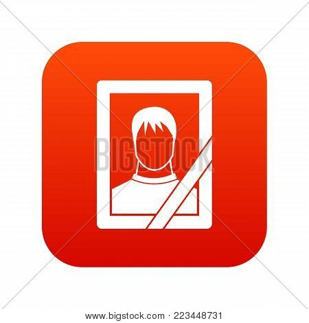 Memory portrait icon digital red for any design isolated on white vector illustration