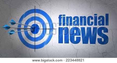 Success news concept: arrows hitting the center of target, Blue Financial News on wall background, 3D rendering