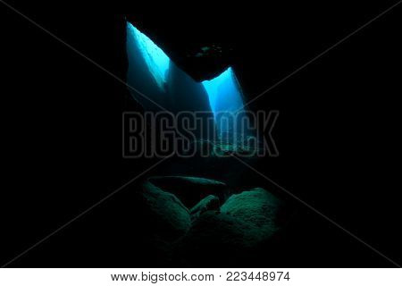 Underwater cave and sunlight