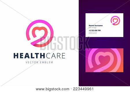 Health care logo and business card template. Emblem and business card for dating club. Logotype for clinic, medical center, fitness center. Vector illustration in flat style.