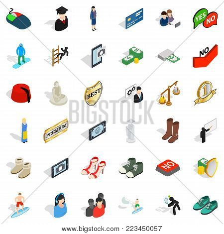 Competent icons set. Isometric set of 36 competent vector icons for web isolated on white background