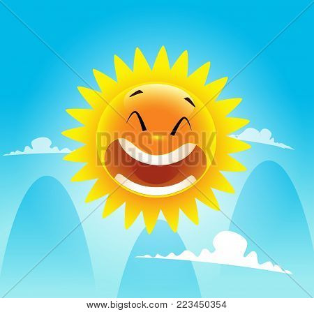 Happy smile on summer sun face. Summer time concept. Vector Illustration
