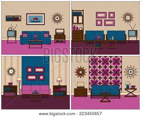 Room retro interior. Linear vector. Living rooms in line art. Flat design furniture sofa, couch, armchair, TV, turntable, phone, radio, clock. Home illustration. House equipment 60s Vintage background