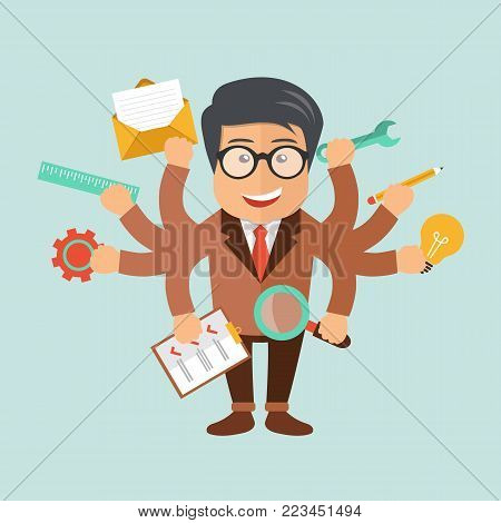 Human resource and self employment concept. Development and internet service. Flat vector illustration