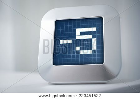The Number -5 On A Digital Calendar, Thermostat Or Timer