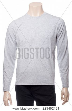 Grey heathered long sleeved cotton T-Shirt on a mannequin isolated on a white background