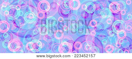 banner of multicolored circles on a  blue background