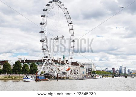 London - August 19, 2017: London Eye Or Millenium Wheel On South Bank Of River Thames