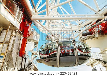LONDON - AUGUST 19, 2017: London Eye or Millenium Wheel on South Bank of River Thames in London England
