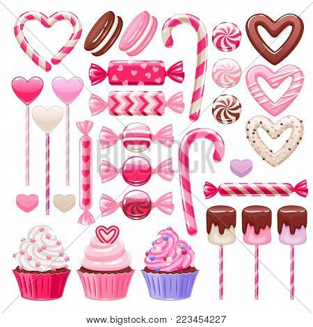 Valentine's day sweets set - marshmallow, hard candy, dragee, cake pop, jelly, peppermint candy, chocolate cookies, cupcakes vector illustration