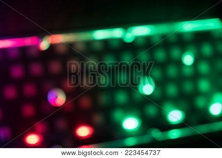 Closeup of laptop keyboard led component inside illumination, backlit keyboard, backlight pc key inside