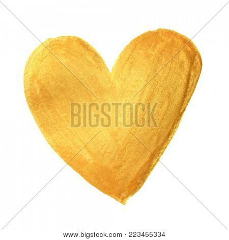 Gold heart paint brush for Valentine on white background. Golden watercolor painting of heart shape for love concept design. Valentine's day card heart template
